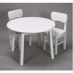 Giftmark 1407W White Hardwood Round Table and Chair Set