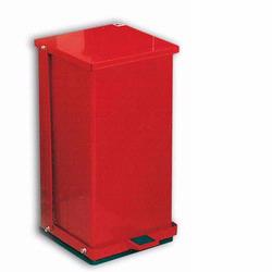 Detecto P-32R Red Baked Epoxy Steel Step-On Can Waste Receptacle 32 Quart Capacity