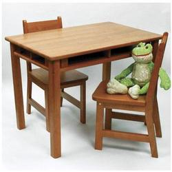 Child's Rectangular Table with shelves & 2 Chairs 534P - Pecan