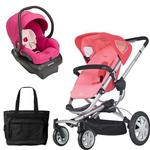 Quinny CV155BFX Buzz 4 Travel System in Pink Blush with a Diaper Bag