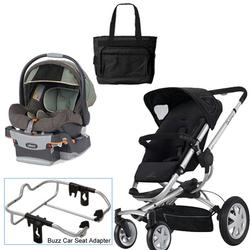quinny rocking black buzz 4 travel system with chicco adventure car seat diaper bag free. Black Bedroom Furniture Sets. Home Design Ideas