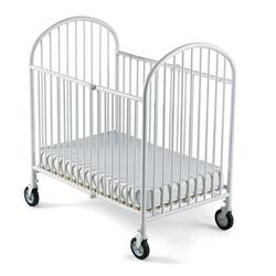 Foundations 1331097 Compact Pinnacle EasyRoll Folding Crib w/ 4 inch Casters (Foam Mattress) - White