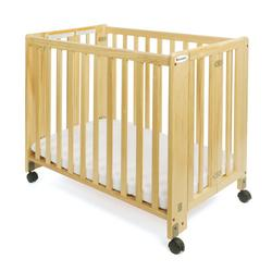 Foundations 1061042 Compact HideAway Nursery Folding Fixed-Side Crib, Slatted, w/ 2 inch Casters - Natural