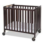 Foundations 1031852 Compact HideAway EasyRoll Folding Fixed-Side Crib, Slatted w/4 inch Casters - Antique Cherry