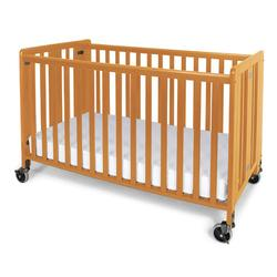 Foundations 1011042 Full-Size HideAway EasyRoll Folding Fixed-Side Crib, Slatted w/4 inch Casters - Natural