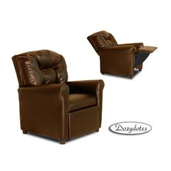 Dozydotes 11527 Leather Like Four Button Childrens Recliner - Pecan Brown