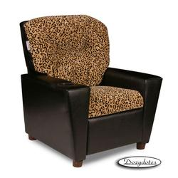 Dozydotes 14120 Micro suede with Black Vinyl sides Children's Recliner with Cup Holder - Cheetah/Black