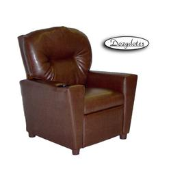 Dozydotes 11534 Leather Like Children's Recliner with Cup Holder - Pecan Brown