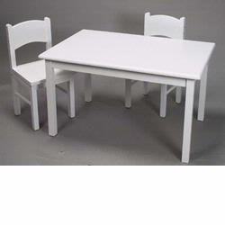 GiftMark 1406W Solid Wood Table and Chair Set, White