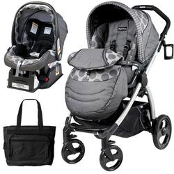 Peg Perego Book Plus Stroller Travel System with a Diaper Bag - Pois Grey / Charcoal Grey Dots