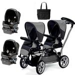 Peg Perego Duette SW Stroller with two Car Seats and a Diaper Bag  - Atmosphere