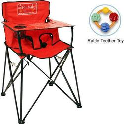 ciao! baby - Portable High Chair with Rattle Teether Toy - Red