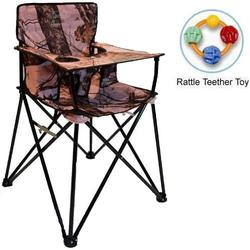 ciao! baby - Portable High Chair with Rattle Teether Toy - Pink Mossy Oak