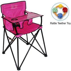 ciao! baby - Portable High Chair with Rattle Teether Toy - Pink