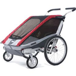 THULE 10100931 Chariot Cougar Two Child Bicycle Trailer with Strolling Kit - Red
