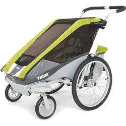 THULE 10100932 Chariot Cougar Two Child Bicycle Trailer with Strolling Kit - Avocado