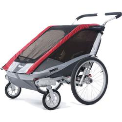 THULE 10100533 Chariot Cougar Single Bicycle Trailer with Strolling Kit - Red
