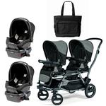 Peg Perego - Duette Piroet Atmosphere Double Car Seat Travel System with Diaper Bag