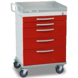 Detecto WC33669RED WHISPER Emergency Room Cart 5 Drawers