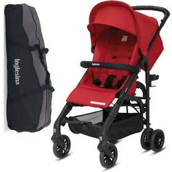 Inglesina Zippy Light Stroller with Raincover and Carry Bag  Vivid Red
