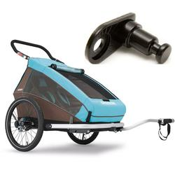 Croozer-121990216KT- Kid Plus For 2 Bicycle Trailer -Includes Extra Hitch Round-Sky Blue/Brown