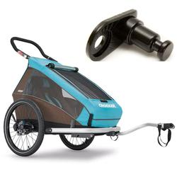 Croozer- 121990116KT- Kid Plus For 1 Kid For 1  Bicycle Trailer-Includes Extra Hitch Round- Sky Blue/ Brown