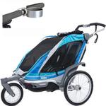 ThuleUSA Chariot Chinook Two Child Bicycle Trailer with Strolling Kit and Cup Holder - Aqua