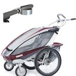 ThuleUSA Chariot CX Two Child Bicycle Trailer with Strolling Kit and Cup Holder - Burgundy