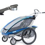 ThuleUSA Chariot CX Two Child Bicycle Trailer with Strolling Kit and Cup Holder - Blue