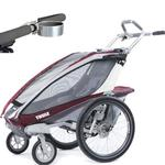 ThuleUSA Chariot CX Single Bicycle Trailer with Strolling Kit and Cup Holder - Burgundy