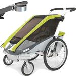 ThuleUSA Chariot Cougar Single Bicycle Trailer with Strolling Kit and Cup Holder - Avocado