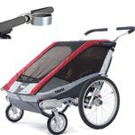 ThuleUSA Chariot Cougar Single Bicycle Trailer with Strolling Kit and Cup Holder, Red