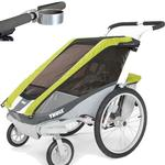 ThuleUSA Chariot Cougar two Child Bicycle Trailer with Strolling Kit and Cup Holder, Avocado