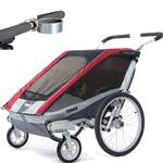 ThuleUSA Chariot Cougar Two Child Bicycle Trailer with Strolling Kit and Cup Holder, Red
