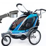 ThuleUSA Chariot Chinook Single Bicycle Trailer with Strolling Kit and Cup Holder - Aqua