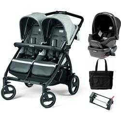 Peg Perego - Book for Two Atmosphere (Light Grey/Dark Grey) Double Stroller Travel System with Diaper Bag