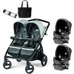 Peg Perego - Book for Two Atmosphere (Light Grey/Dark Grey) Double Stroller Twin Travel System with Diaper Bag