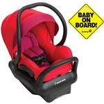 Maxi-Cosi IC304EMU Mico Max 30 Infant Car Seat -  Red Orchid with Baby On Board Sign