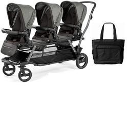 Peg Perego Triplette Piroet Stroller with Pop-Up Seats and Diaper Bag - Atmosphere