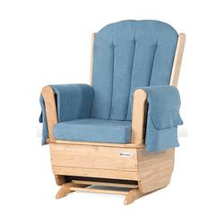 Foundations 4304046 SafeRocker Adult Glider Rocker - Natural Finish/Blue