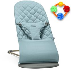 Baby Bjorn Bliss Bouncer Cotton - Vintage Turquoise with Click Clack Balls Teether
