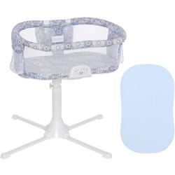 Halo - Swivel Sleeper Bassinet - Luxe Series - Blue Medallion with Blue Fitted Sheet