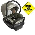 Maxi-Cosi Mico Max 30 Infant Car Seat - Graphic Flower with Baby on Board Sign